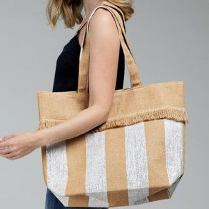 Woven Jute Stripe Metallic Tote Bag